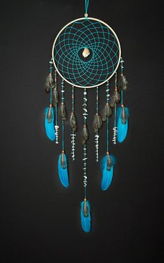 Large Turquoise Dream Catcher, Sea dreamcatcher, Something Blue, Wedding decor, Dreamcatcher with feathers, boho style, wedding decorations, wall hanging, wall decor, handmade dreamcatcher SIZE: - diameter of the hoop :-11-12 ( 28-30 cm ) - height : 36-40 ( 90-100cm) MATERIAL: -
