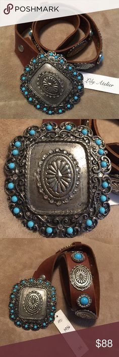 """Designer Western style leather belt This gorgeous, turquoise, silver & rhinestone leather belt is brand new, never worn, retail tag attached, purchased at a local high end boutique; 'Lily Atelier'... $188.00. 'LEATHEROCK' style #3936, genuine leather, light brown, heavy front buckle, measures ; 3 1/2 X 4"""", belt length 38"""". Lots of detail! Definitely a one of a kind piece! Please inquire for more pics or any questions. Thanks! Note: although the 'turquoise' accents look real, I'm not sure if…"""