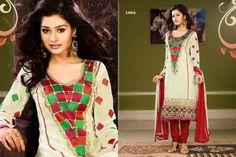 Royal Cream chiffon punjabi suit with border work.pair with mathcing bottom and dupatta. Punjabi Suits, Salwar Kameez, Kimono Top, Cover Up, Chiffon, Sari, Stitch, Casual, Cream