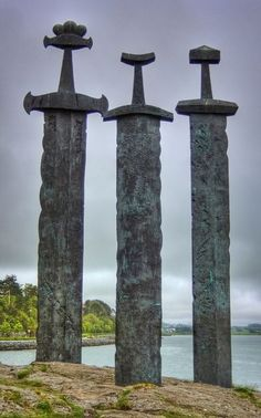 """Viking Swords at Stavanger Swords Monument-representing peace and unity-in memory of Harald the """"Fairheaded"""" and the great battle of Hafrsfjord year 872 which united the kingdom of Norway.  Sven's dad grew up here.  Love it!"""