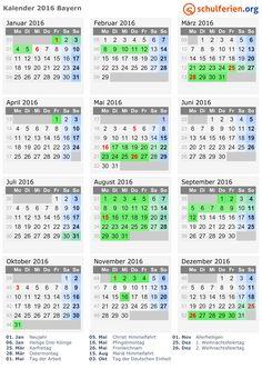 Kalender 2016 mit Ferien und Feiertagen Bayern
