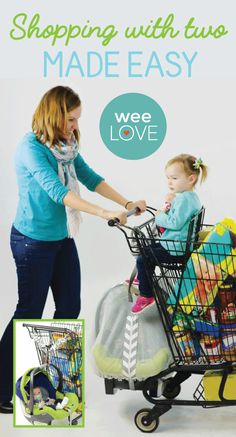 Bear with us--we know this make look totally strange (we thought so, too!) but it's a super ingenious and super safe (rigorously tested) way to shop. Much safer than balancing the seat on the top of the cart itself!