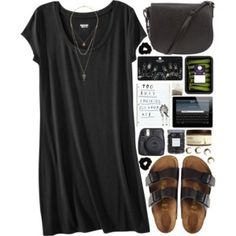 Birkenstock sandals / Alexander Wang studded purse / Topshop set ring / Topshop bead jewelry / Forever 21 scrunchie hair accessory perfect outfit if u ask me. Mode Outfits, Casual Outfits, Fashion Outfits, Womens Fashion, Petite Fashion, Dress Fashion, Dress Casual, Simple Edgy Outfits, Simple College Outfits