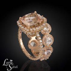 Rose Gold Morganite Engagement Ring, Diamond Engagement Ring, Peach SapphireRing, Peach Sapphire and Diamond Wedding Ring - LS3592