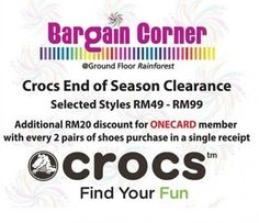 1-5 July 2015: Crocs End of Season Clearance Sale