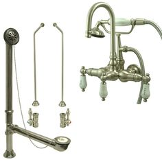 clawfoot tub filler and shower system. CC9T8system Satin Nickel Wall Mount Clawfoot Tub Filler Faucet w Hand Shower  System Package CC1003T8system