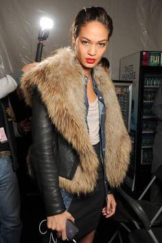 jean shirt + black skirt + leather jacket + fur vest