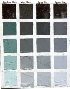 Shades of black paint colors // Understanding black colours. this chart takes each, and mixes them with white.