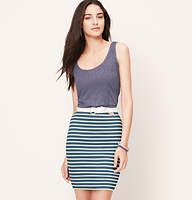 """Striped Pull On Pencil Skirt - In simply sleek stripes, this stretchy style works wonders. Elasticized waist. Lined. 18 1/2"""" long."""
