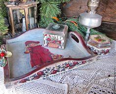 """Купить Набор """"Рождественские яблоки"""" - бордовый, набор, набор для кухни, набор для чаепития, короб"""