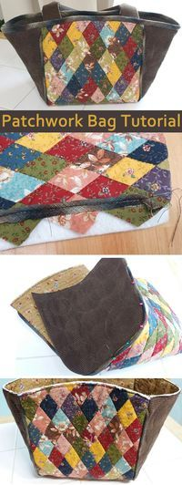 Patchwork & Quilted Bag Tutorial - Diy Home Decor Quilted Tote Bags, Patchwork Bags, Bag Patterns To Sew, Sewing Patterns, Handbag Patterns, Tote Pattern, Patchwork Tutorial, Craft Bags, Fabric Bags