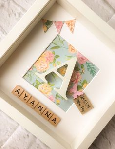 New Baby Gift Personalised Box Frame Christening Keepsake Gift for her Pink Blue Floral Baby Nursery Initial Picture Butterfly Diy Baby Gifts, Personalized Baby Gifts, Personalised Box, Gift For Baby Girl, Homemade Baby Gifts, Baby Gifts For Girls, Creative Baby Gifts, Personalised Christening Gifts, Keepsake Baby Gifts