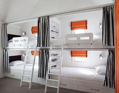 Great Design Ideas of Built in Bunk Beds for Kids: Window Treatment And Under Bed Storage Plus Wall Sconces In Contemporary Bedroom Design With Bunk Bed Curtains And Built In Bunk Beds Also White Bedding White Bunk Beds, Double Bunk Beds, Bunk Beds Built In, Modern Bunk Beds, Cool Bunk Beds, Bunk Beds With Stairs, Kids Bunk Beds, Loft Beds, Adult Bunk Beds