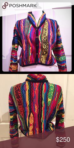 Beautiful Vintage Australian COOGI Cardigan Attention to detail sets this authentic vintage Australian COOGI Cardigan apart. The sweater is a cropped style complimenting your waist line. The rolled collar is accented by five beautiful buttons. Sweater is in excellent condition! Worn only a few times. Absolutely BEAUTIFUL! COOGI Sweaters Cardigans