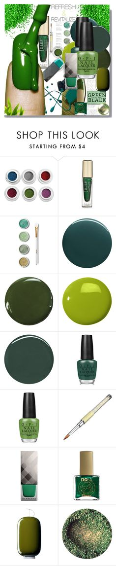 """Green is the New Black"" by fassionista ❤ liked on Polyvore featuring beauty, Terre Mère, Deborah Lippmann, Zoya, Butter London, Burberry, OPI, ncLA, Foscarini and nailart"