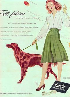 1943 Pacific fabrics vintage ad for fall with a cute Irish Setter illustration