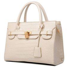 Ivory Synthetic Croc Skin Leather Shoulder Handbag Briefcase Tote #Unbranded #TotesShoppers