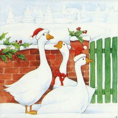 4 x Single Luxury Paper Napkins for Decoupage and Craft Christmas Geese