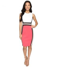 Calvin Klein Color Block Sheath Dress CD6M1V5K (Watermelon Multi) Women's Dress