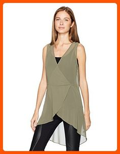 BCBGeneration Women's Surplice Tunic Top, Dusty Olive, Large - All about women (*Amazon Partner-Link)