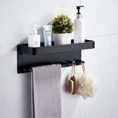 TIANQIZ-Home Decor Wall Mounted Wall Shelf Floating Shelf Bathroom Rack Wall Mounted Stainless Steel Hook Bathroom Storage Box Kitchen Storage Basket for Bedroom Living Room (Color : Black) Bathroom Storage Boxes, Bath Shelf, Bathroom Rack, Floating Shelves Bathroom, Shower Shelves, Bathroom Organisation, Bath Storage, In Shower Storage, Metal Bathroom Shelf