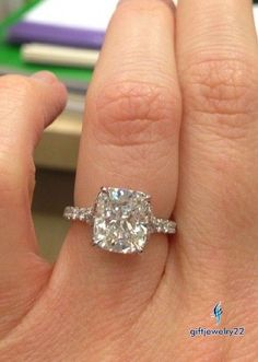 1.28CT. Simple Solitaire Engagement Ring Cushion Cut Diamond 14k White Gold Over #giftjewelry22 #Solitairering