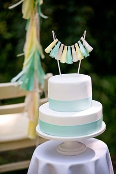 Mint and Yellow Tassel Garland Cake Topper