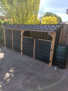 Outdoor Spaces, Outdoor Living, Outdoor Decor, Garden Bike Storage, Bin Shed, Bin Store, Backyard Sheds, Garden Office, Patio Roof