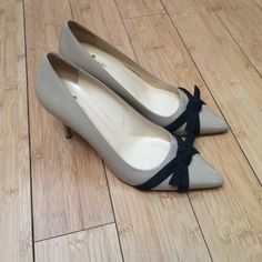 "Kate Spade heels Adorable taupe heels with a black bow!  GUC!  Heel height is 3"" kate spade Shoes Heels"