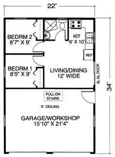 Garage Plan With Apartment and Workshop - perfect! Place to store snowmobiles and gear. Could eek out a laundry area. That's all we need. Could add a loft over the living area for more sleeping room.
