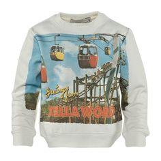Stella McCartney Kids Sweatshirt with Cable Cars Postcard Print
