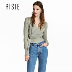 IRISIE 2017 Light Green Autumn Fashion Sweater Women Preppy Shining Strap Brief Jumper Sweet V-neck Long Sleeve Lady Sweater #Affiliate