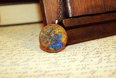 Rustic Blue Mustard Wool Silk Round Pendant. Gift by elenasfelting, $35.00