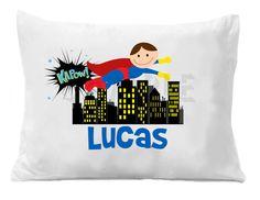 Items similar to Superhero Pillow Case Superhero Personalized Pillow Case on Etsy Boy Room, Kids Room, Comic Book Rooms, Lego Bedroom, Superhero Room, Personalized Pillow Cases, Baby Hamper, Photo Pillows, Soft Pillows