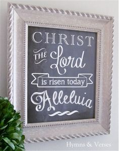 Free Easter Printable Chalkboard - Christ the Lord is Risen Today!