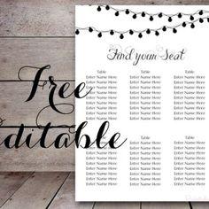 free editable night lights wedding seating chart template