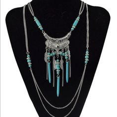 New Boho Multi Layer Silver w/ Turquoise Necklace New with tags multi layer boho necklace. Jewelry Necklaces