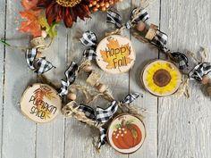 Handmade Market, Handmade Gifts, Farmhouse Mantel, Happy Fall, Beaded Garland, Advertising And Promotion, Wood Slices, Fall Pumpkins, Buffalo Plaid