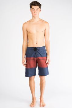 Athletic Stripe Print Board Shorts