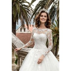2019 Tulle Scoop Long Sleeves A Line With Applique Wedding Dresses VEPDJJ97SX