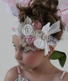 """Love this White & Light Pink Flowers Fade Headband by Doll Baby on"", ""An elegant assortment of flowers and tiny pearls spruces up this headband that Handmade Flowers, Diy Flowers, Fabric Flowers, Diy Headband, Baby Girl Headbands, Ribbon Crafts, Ribbon Bows, Diy Crafts, Tissu Style Shabby Chic"
