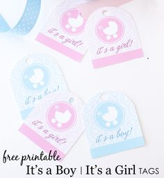 It's a Boy/It's a Girl Free Printable Tags for Baby Showers - #printable #babyshower
