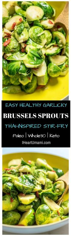 Super easy Thai-inspired Sauteed Brussels Sprouts. It's simple, garlicky, healthy and super delicious. Follow the link to add this super delicious Thai-inspired Brussles Sprouts dish to your dinning table ! #Iheartumami #brusselssprouts #stirfry #healthyrecipes #easyrecipes
