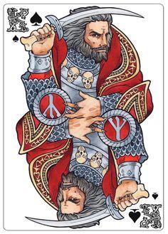 """Пиковый король (Чернобог) для колоды """"Славянский боги""""."""