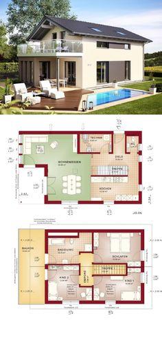 Modernes Haus mit Satteldach - Fertighaus Grundriss Edition 4 V3 Bien Zenker - HausbauDirekt.de