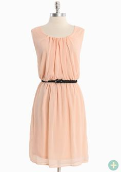 """Graceful Days Belted Curvy Plus Dress 42.99 at shopruche.com. Graceful and feminine, this beautifully textured semi-sheer chiffon dress in soft peach features an elasticized waist, removable faux leather belt, and a delicately draped neckline. Fully lined. 100% Polyester, Imported, 38"""" length from top of shoulder"""