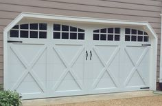 16x7 Model 5634A Carriage style overlay garage door with Arched Stockton top glass installed by the Richmond store. Before & After