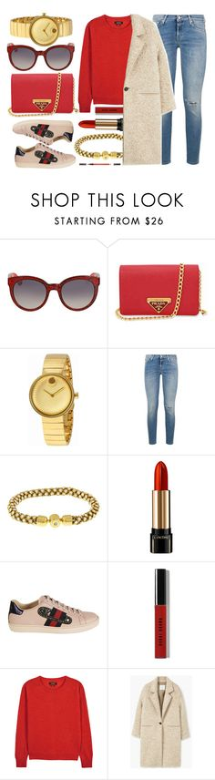"""Red Love"" by jomashop ❤ liked on Polyvore featuring Gucci, Prada, Movado, 7 For All Mankind, Lancôme, Bobbi Brown Cosmetics, Isabel Marant, Shiseido, red and beige"