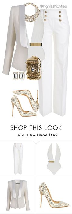 """""""Mature Sexy"""" by highfashionfiles ❤ liked on Polyvore featuring Emilio Pucci, MOEVA, Jenny Packham, Balmain, Jimmy Choo and House of Lavande"""