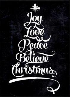 Chalkboard art quote ToniKami ⊱CհαƖҜ ℒЇℕ℮⊰ Christmas tree Joy love peace JunkyDotCom